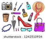 women s accessories cosmetics....   Shutterstock .eps vector #1242510934