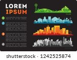 city skyline colored sets  city ... | Shutterstock .eps vector #1242525874
