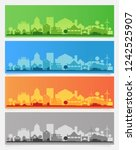 city skyline colored sets  city ... | Shutterstock .eps vector #1242525907