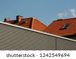 tiled roofs of cottages   rural ... | Shutterstock . vector #1242549694