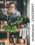 fall seasonal vegetarian  vegan ... | Shutterstock . vector #1242558997