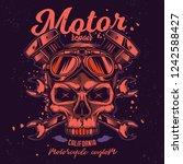 skull in motorcycle glasses on... | Shutterstock .eps vector #1242588427