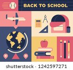 composition by school supplies... | Shutterstock .eps vector #1242597271