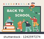 cute student characters on a... | Shutterstock .eps vector #1242597274