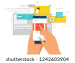 online shopping. hands holding... | Shutterstock .eps vector #1242603904