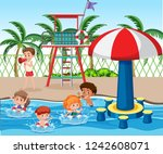 kids at swimming pool... | Shutterstock .eps vector #1242608071