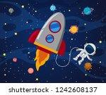 astronaut in the space...   Shutterstock .eps vector #1242608137