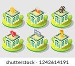 city public building icon set.... | Shutterstock .eps vector #1242614191