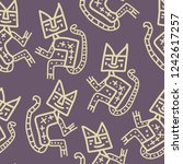 seamless pattern with hand... | Shutterstock .eps vector #1242617257