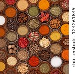 various kinds of spices on... | Shutterstock . vector #124261849