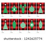 christmas gift tags in red... | Shutterstock .eps vector #1242625774