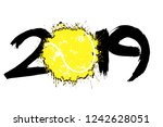 abstract number 2019 and a... | Shutterstock .eps vector #1242628051