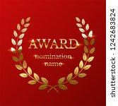 golden award sign with laurel...   Shutterstock .eps vector #1242683824