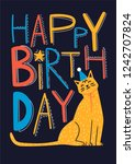 happy birthday vector card with ... | Shutterstock .eps vector #1242707824