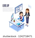 woman work to achieve the goals ... | Shutterstock .eps vector #1242718471