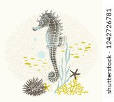 Hand Drawn Seahorse With...