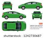 green car vector mockup on... | Shutterstock .eps vector #1242730687