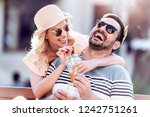portrait of smiling couple... | Shutterstock . vector #1242751261
