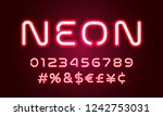 neon light alphabet font... | Shutterstock .eps vector #1242753031
