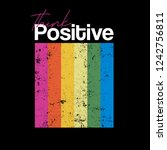think positive typography... | Shutterstock .eps vector #1242756811