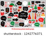christmas photo booth props.... | Shutterstock .eps vector #1242776371