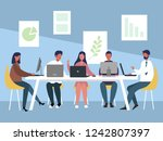 work team of people meeting.... | Shutterstock .eps vector #1242807397