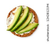 cracker with cream cheese and... | Shutterstock . vector #1242812194