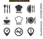 restaurant icons set on white... | Shutterstock .eps vector #1242812854