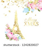 happy new year card over gray... | Shutterstock .eps vector #1242820027
