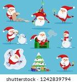 santa claus christmas set vector | Shutterstock .eps vector #1242839794