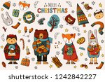 christmas card with forest... | Shutterstock . vector #1242842227