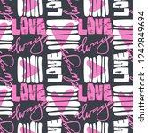 love graffiti seamless hand... | Shutterstock .eps vector #1242849694