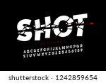 bullet shot font  alphabet...   Shutterstock .eps vector #1242859654