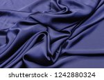 dark blue silk fabric  satin | Shutterstock . vector #1242880324