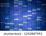 blockchain data. glowing blue... | Shutterstock . vector #1242887491