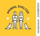 animal shelter design poster... | Shutterstock .eps vector #1242889324