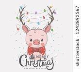 cute little piggy with deer...   Shutterstock .eps vector #1242892567