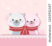 teddy bear and snowflake on... | Shutterstock .eps vector #1242932107