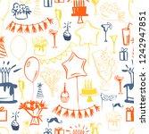 hand drawn set of birthday.... | Shutterstock .eps vector #1242947851