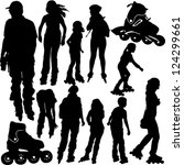 rollerblade silhouettes   vector | Shutterstock .eps vector #124299661