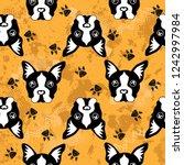 cute kids dog pattern for girls ... | Shutterstock .eps vector #1242997984