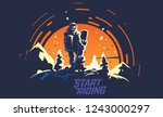 back view of male snowboarder... | Shutterstock .eps vector #1243000297