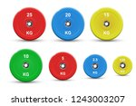 set of colored barbell plates ... | Shutterstock .eps vector #1243003207
