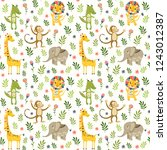 seamless baby pattern with lion ...   Shutterstock . vector #1243012387