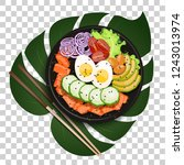 white round poke bowl with... | Shutterstock .eps vector #1243013974