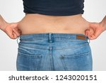 overweight woman body with fat...   Shutterstock . vector #1243020151