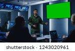 high ranking military man holds ... | Shutterstock . vector #1243020961
