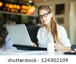 people with laptop  soft focus... | Shutterstock . vector #124302109