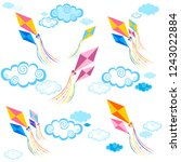 vacation time. kite  pattern.... | Shutterstock .eps vector #1243022884