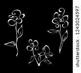 three stylized flowers on stems ... | Shutterstock .eps vector #1243024597
